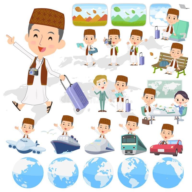 Arab man Brown vest Style travel stock illustration