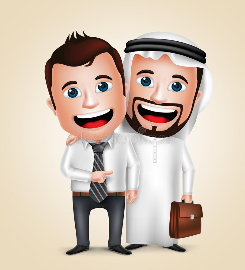 Arab man and businessman vector characters happy business partners stock illustration