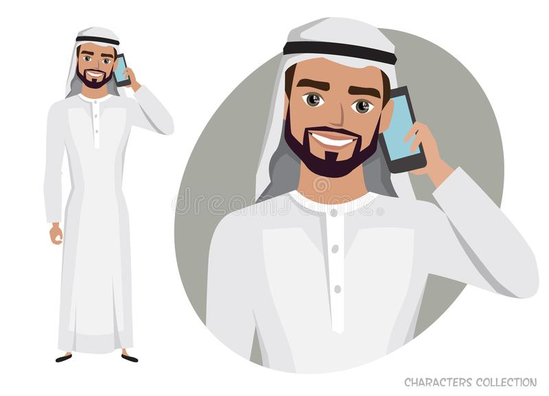Arab Man character is talking on the phone. Vector character in cartoon style vector illustration