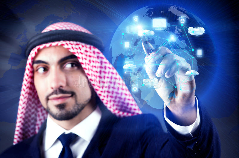 The arab man in cloud computing concept. Arab man in cloud computing concept stock photos