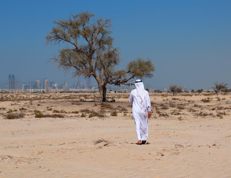 Arab man in desert stock images