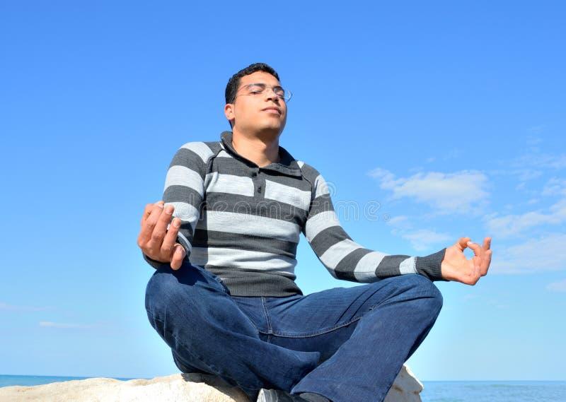 Arab Man Meditating Stock Image