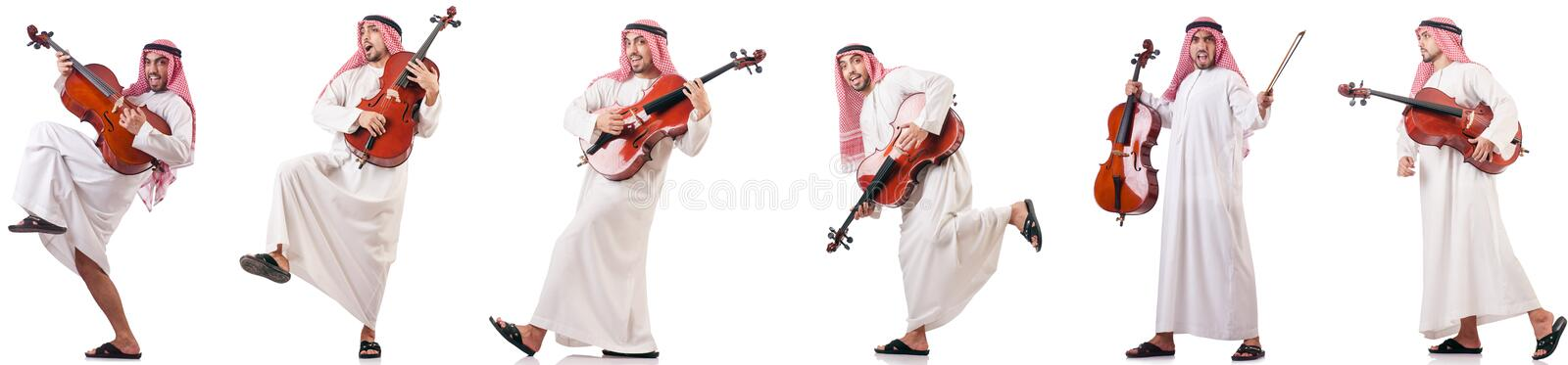 The arab man playing cello isolated on white. Arab man playing cello isolated on white royalty free stock image