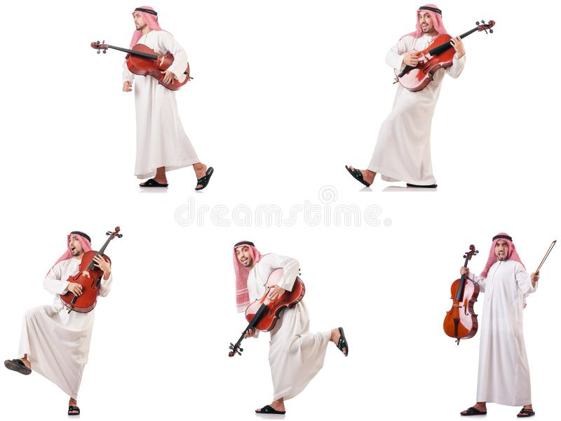 The arab man playing cello isolated on white. Arab man playing cello isolated on white stock photography