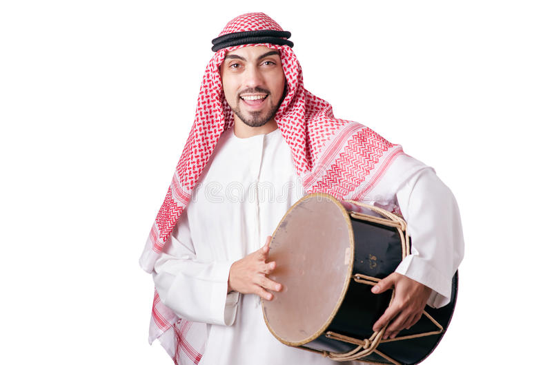 Download Arab Man Playing Drum Isolated Stock Photo - Image: 28418038