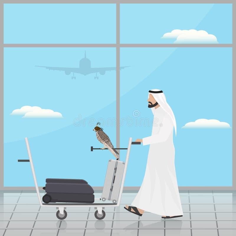 Arab med en falk på en spårvagn på flygplatsen stock illustrationer