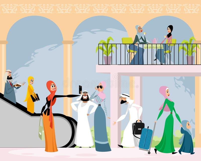 Arab men and women royalty free illustration