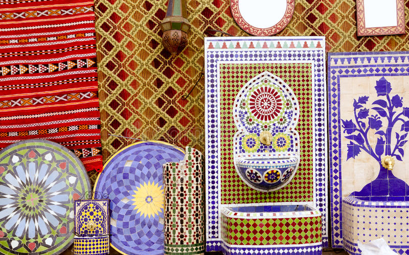 Download Arab Mosaic Deco Tiles And Fabric Decoration Stock Photo - Image: 19660576