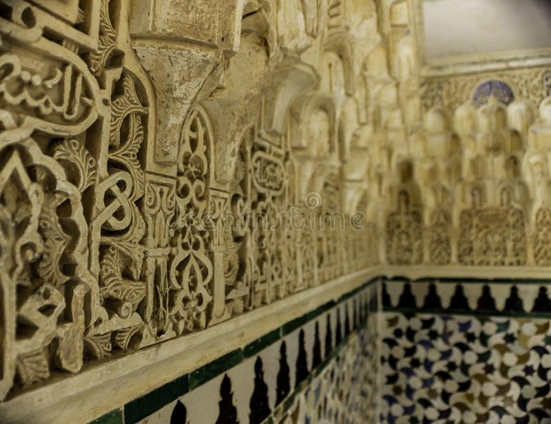 Arab mosaic in Granada, The Alhambra stock photography
