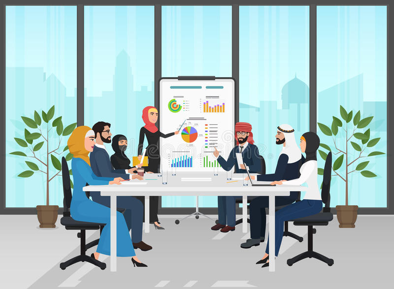 Arab muslim business people group presentation in office. Arabic Businesspeople team training conference. Meeting stock illustration