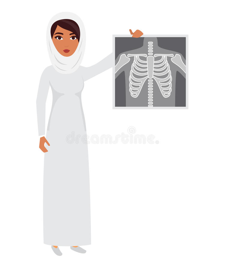 Arab muslim doctor wearing veil hijab with x-ray film. Arab muslim doctor wearing veil hijab with x-ray film vector illustration