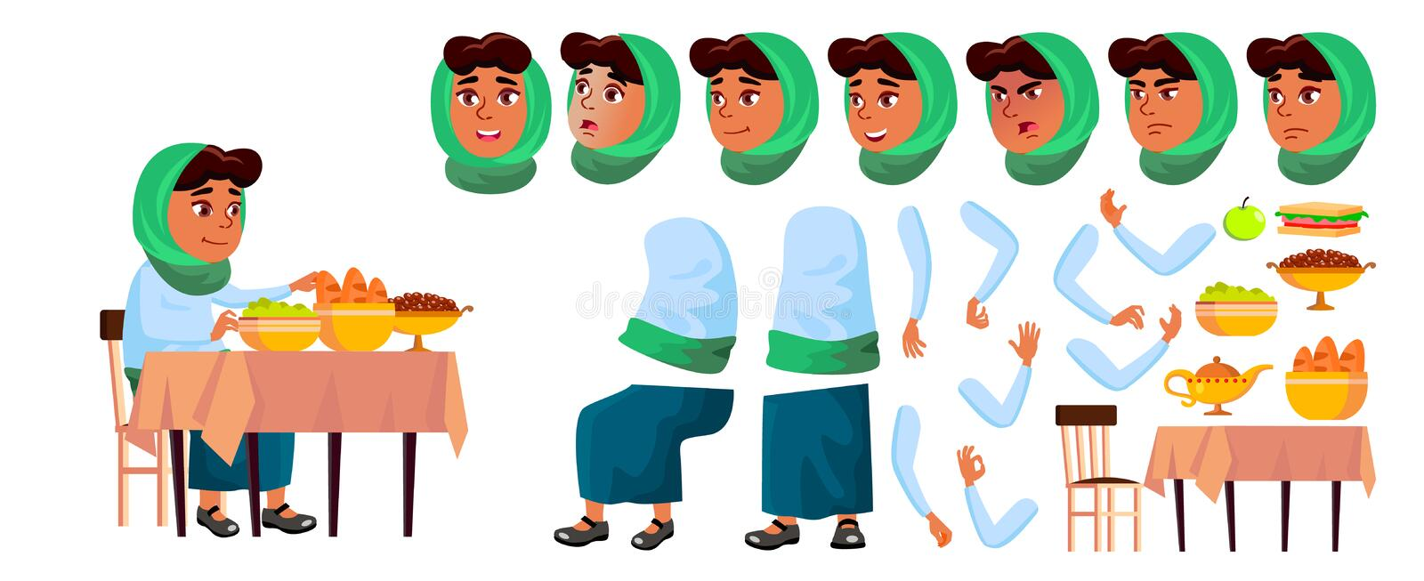 Arab, Muslim Girl Vector. Animation Creation Set. Face Emotions, Gestures. Smile. Food, Table, Lunch, Traditional royalty free illustration