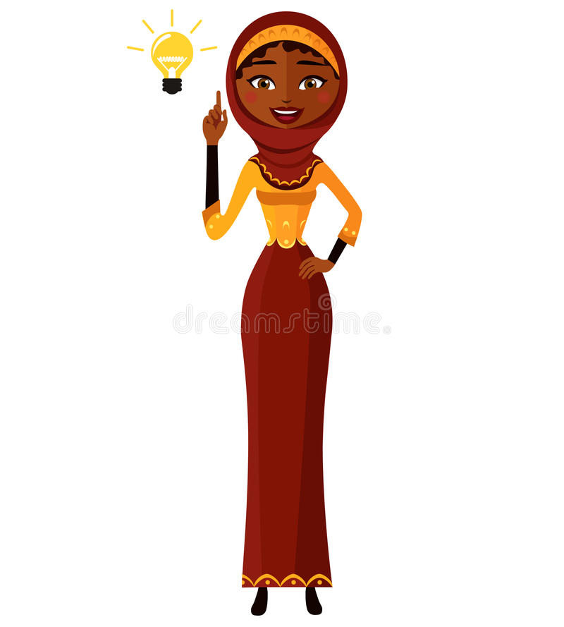 Arab muslim kuwait persian Business woman happy with his bright idea business concept illustration. Eps 10 vector illustration