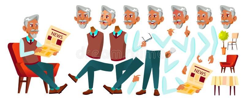 Arab, Muslim Old Man Vector. Senior Person Portrait. Elderly People. Aged. Animation Creation Set. Face Emotions royalty free illustration