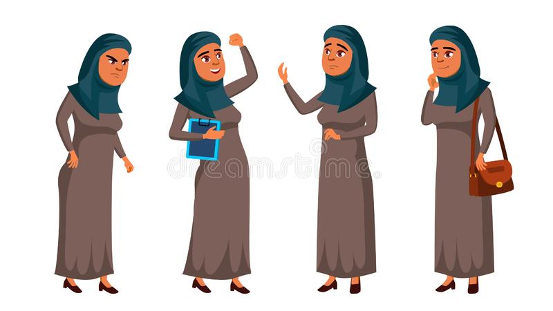 Arab, Muslim Teen Girl Poses Set Vector. Positive Office Manager Person. For Postcard, Cover, Placard Design. Isolated vector illustration