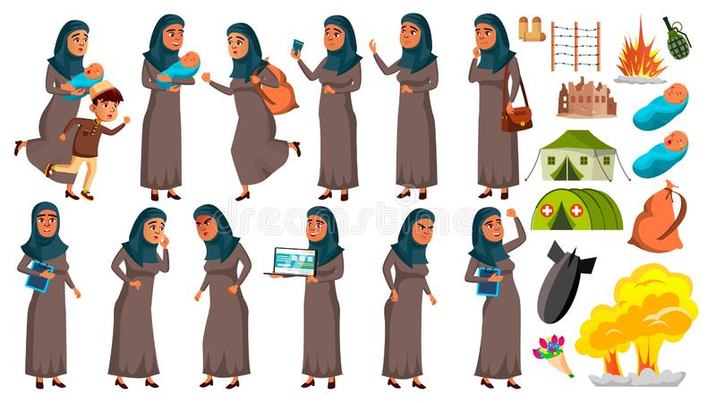 Arab, Muslim Teen Girl Poses Set Vector. Refugee, War, Bomb, Explosion, Panic. For Web Design. Isolated Cartoon royalty free illustration