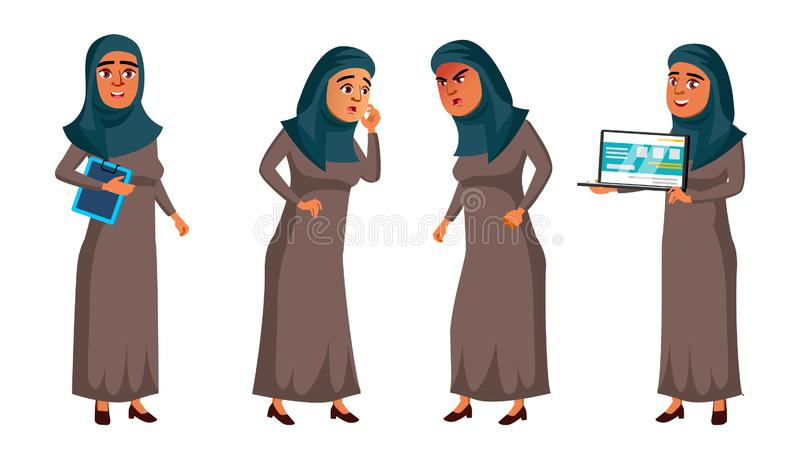 Arab, Muslim Teen Girl Set Vector. Face. Office Manager Person. For Web, Brochure, Poster Design. Isolated Cartoon stock illustration