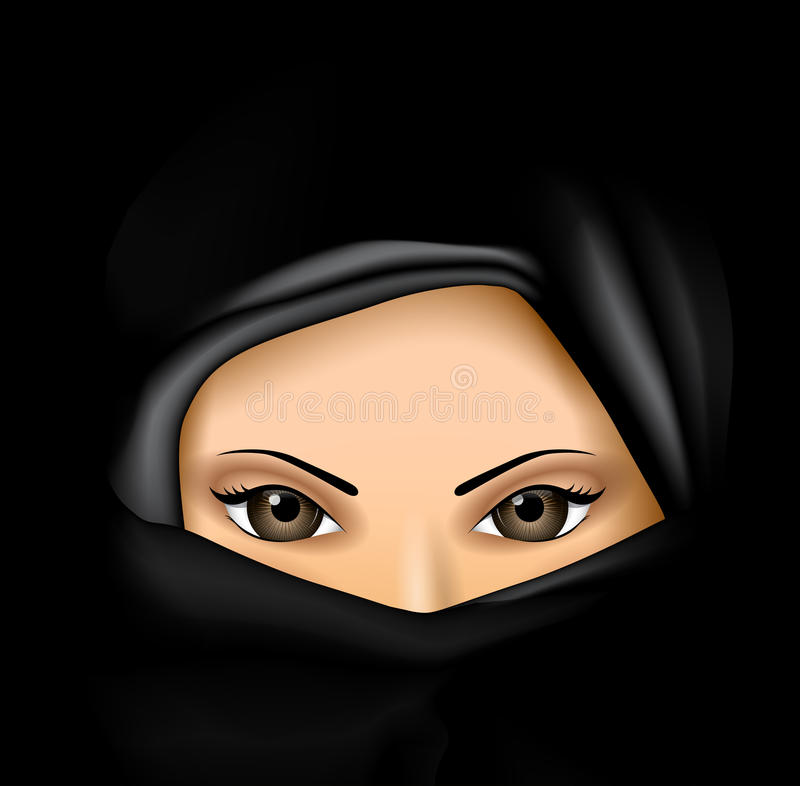 Arab Muslim Woman in Black Dress vector illustration