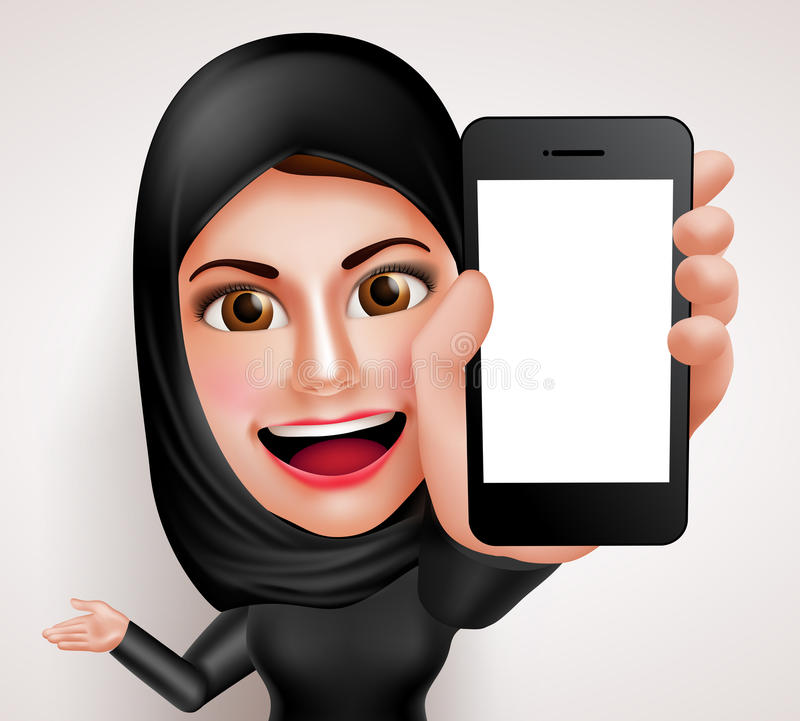 Arab muslim woman vector character holding mobile phone with blank screen stock illustration