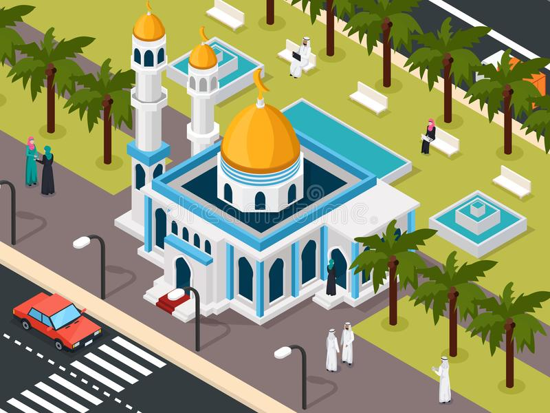 Arab Muslims Near Mosque Composition royalty free illustration