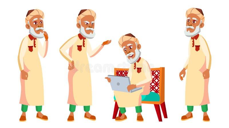 Arab, Muzułmańskie pozy Ustawiający starego człowieka wektor Starsi ludzi Starsza osoba aged zabawne emeryt lub rencista leisure  ilustracji