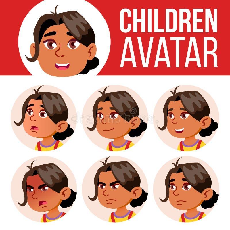 Arab, Muzułmańskiego dziewczyny Avatar dzieciaka Ustalony wektor dzieciniec Stawia czoło Emocje Kreskówka, komiczka, mieszkanie T royalty ilustracja