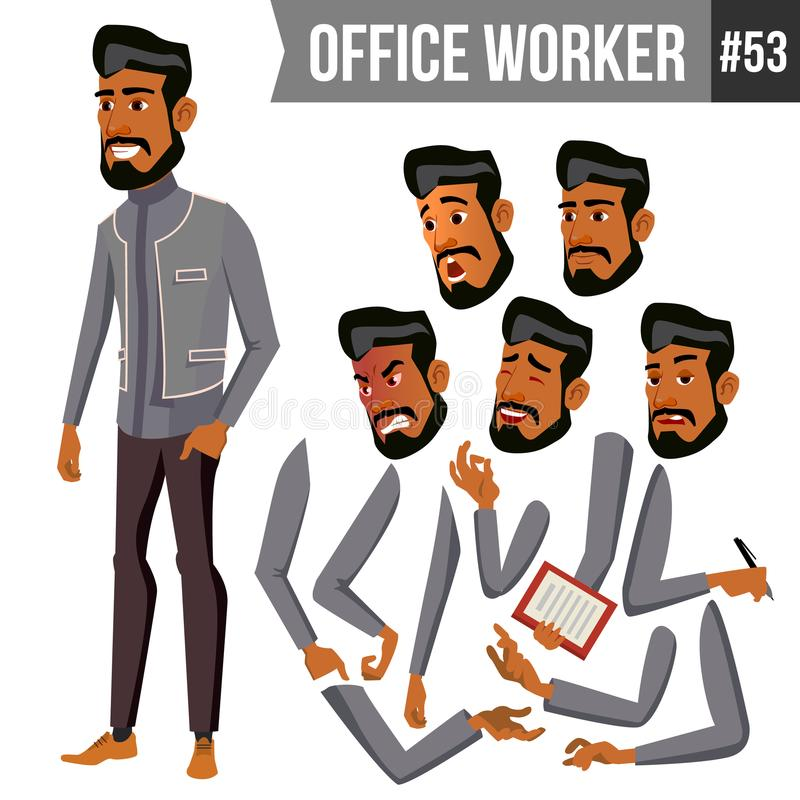 Old Arab Office Worker Vector. Traditional Clothes. Islamic. Face Emotions, Various Gestures. Animation Creation Set stock illustration
