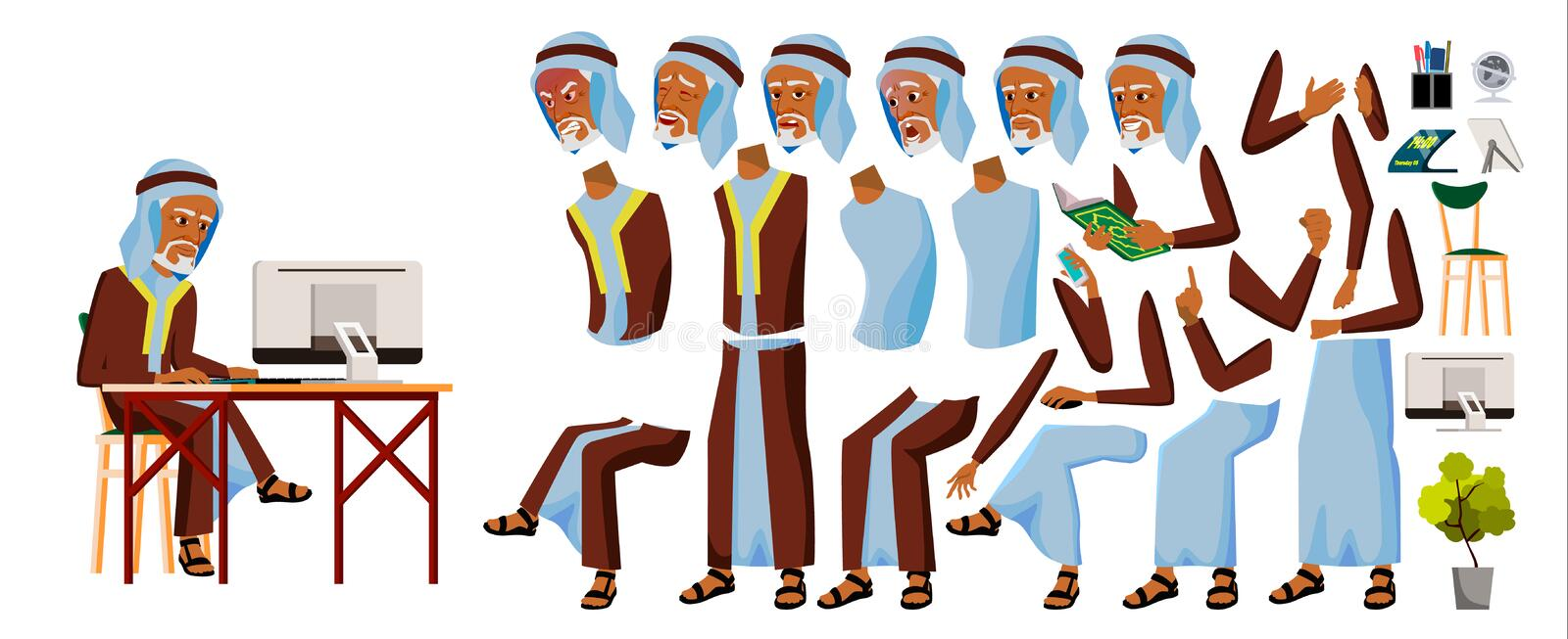 Arab Old Man Office Worker Vector. Arab, Muslim. Business Animation Set. Facial Emotions, Gestures. Businessman Person vector illustration