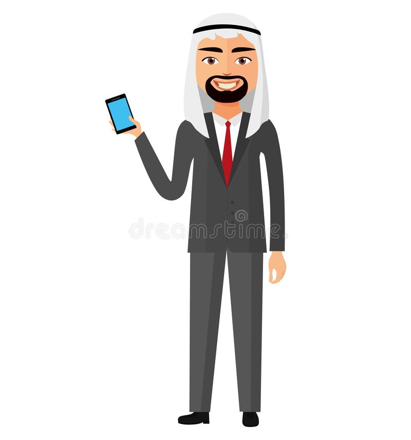 Arab palestine person business man talking the phone flat cartoon vector Illustration. Eps 10 stock illustration