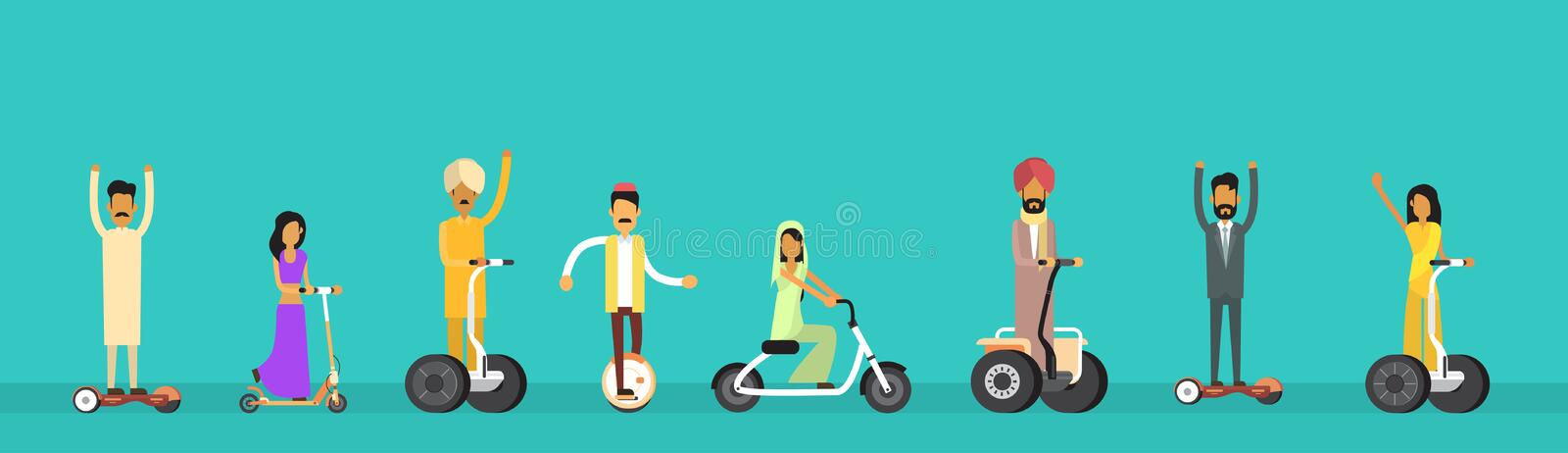 Arab People Group Arabic Man Woman Ride Electric Hover Board stock illustration