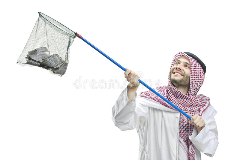 An Arab Person With A Fishing Net Royalty Free Stock Photo