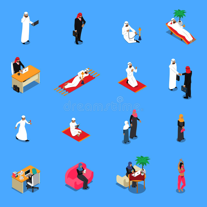 Arab Persons Isometric Set royalty free illustration