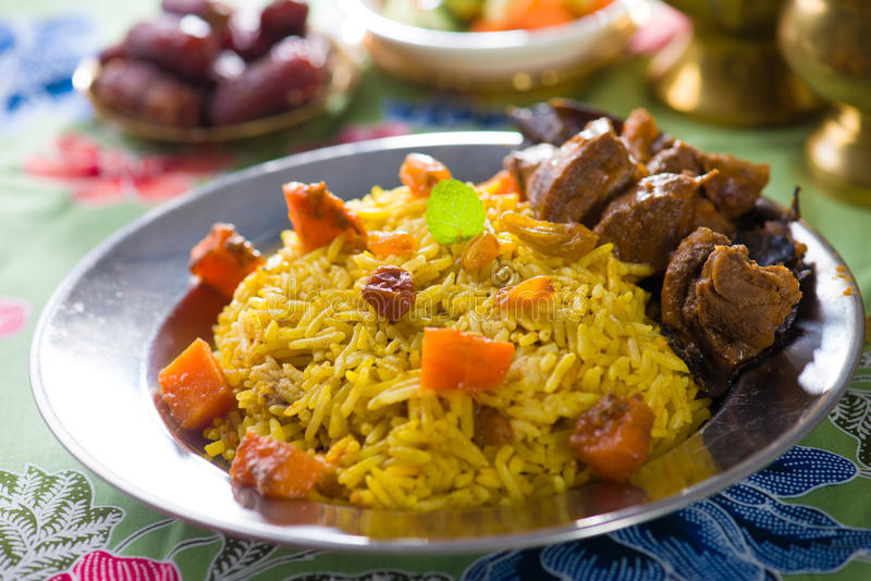 Arab rice meat food with pilaf mutton stock photography