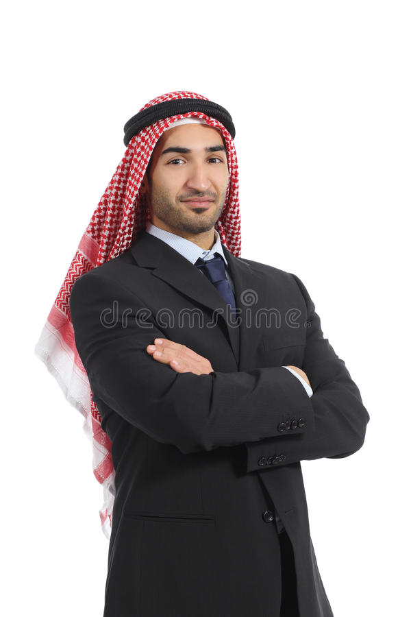 Arab saudi emirates business man posing. Isolated on a white background royalty free stock photography