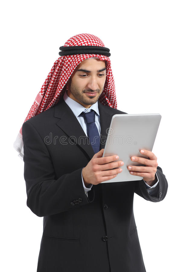 Arab saudi emirates business man using a tablet reader. Isolated on a white background stock images