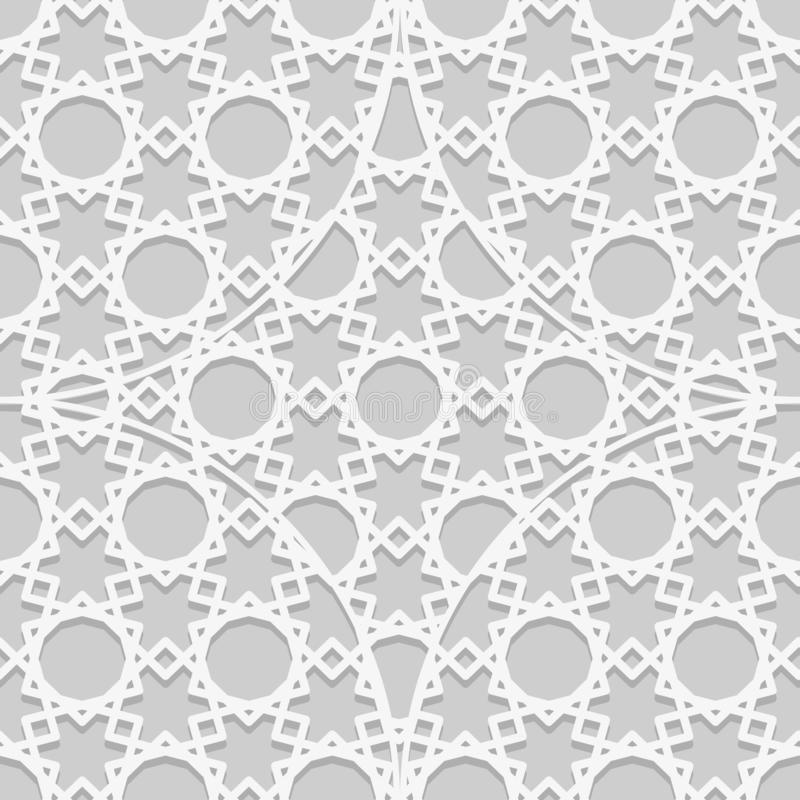 Arab seamless pattern. Islamic texture background. Geometric muslim ornament backdrop. White on gray color palette. Traditional vector illustration