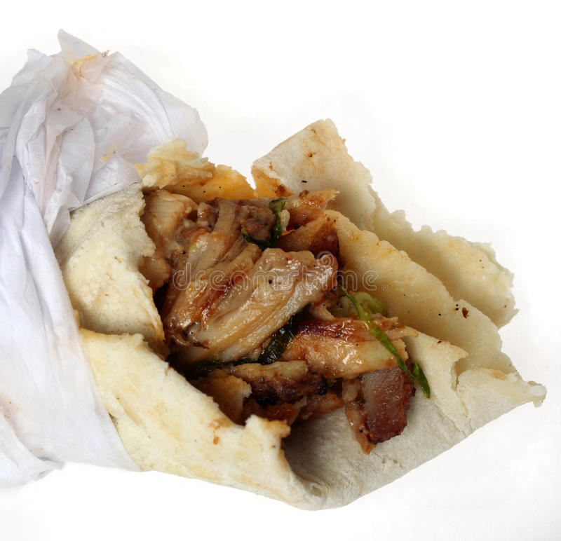 Download Arab shawarma close-up stock photo. Image of meat, chicken - 12724624