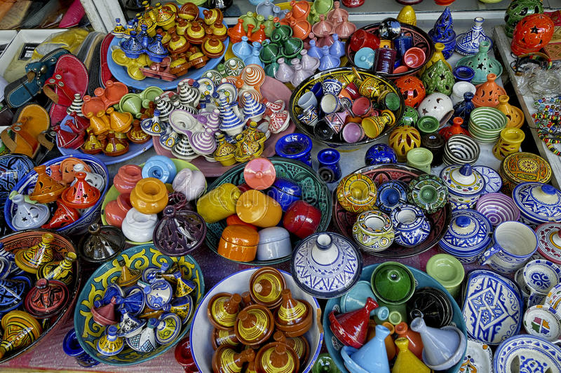 Arab souk. Products for Arab tourists on a stand of the souk stock photography
