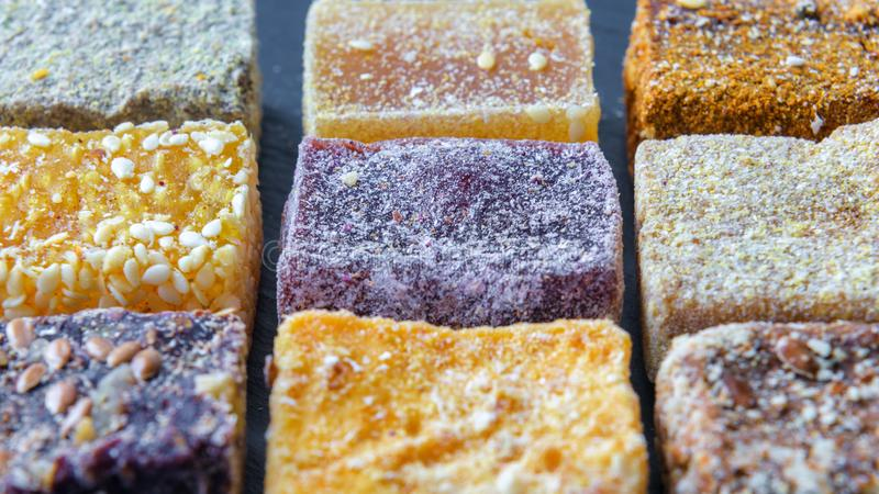 Arab sweets background. Assorted turkish delight candies. royalty free stock image