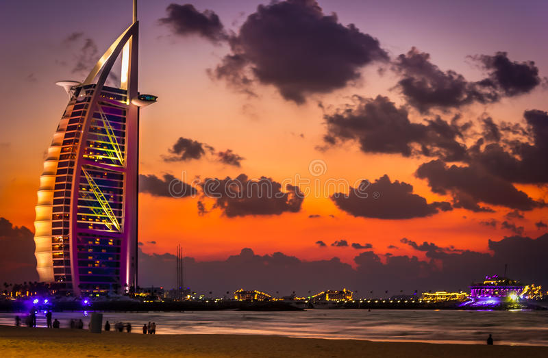 Arab Tower at sunset (Burj Al Arab) stock photo