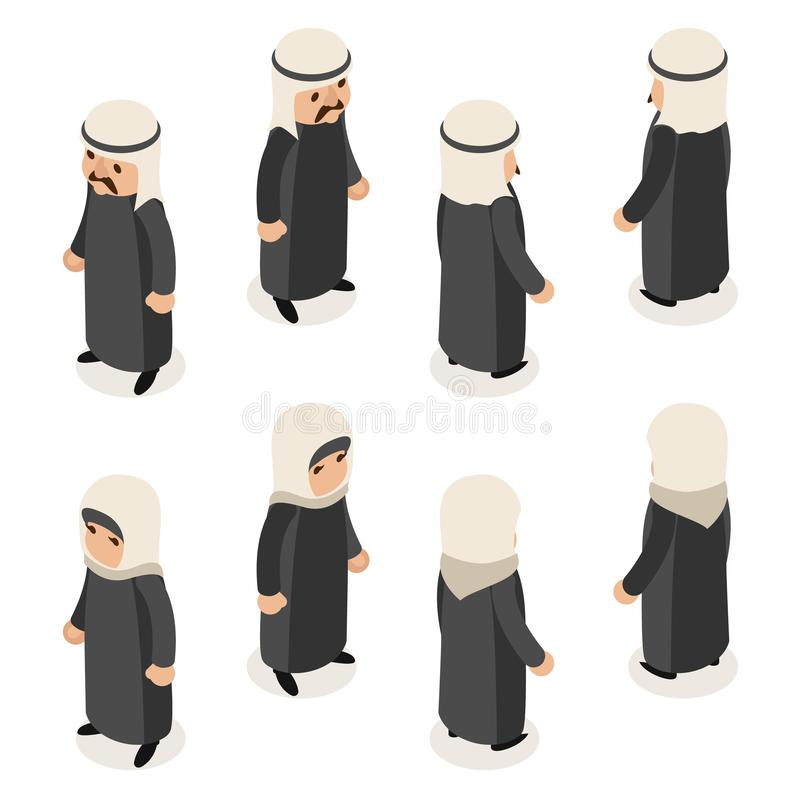 Arab traditional national ethnic muslim female woman man male clothes isometric isolated character flat design vector royalty free illustration