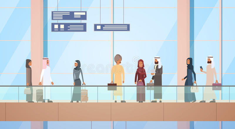Arab Traveler People Airport Hall Departure Terminal Travel Baggage Bag Suitcase, Muslim Passenger Check In Luggage. Flat Vector Illustration vector illustration