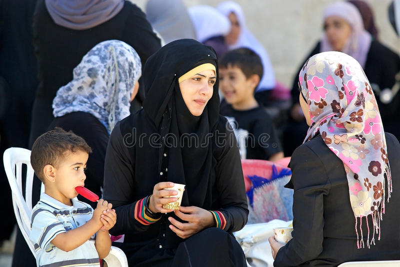 Arab woman and child royalty free stock images