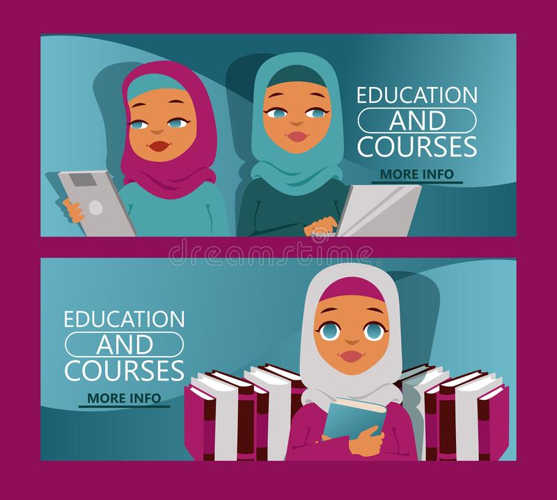 Arab woman on distance education set of banners. Online courses, e-learning, tutorials website vector illustration vector illustration