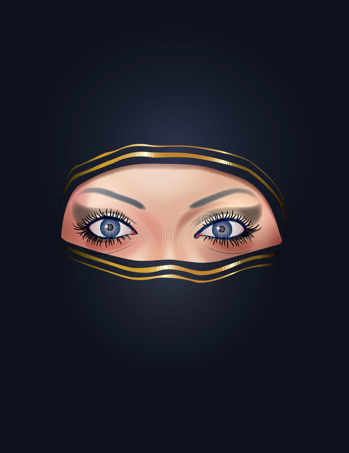 Arab woman face. Illustrated face of an Arab woman vector illustration
