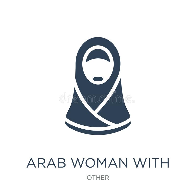 arab woman with hijab icon in trendy design style. arab woman with hijab icon isolated on white background. arab woman with hijab vector illustration