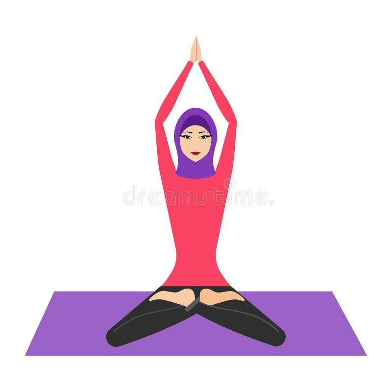 Arab woman with hijab in lotus yoga pose. Young woman wearing hijab, practicing yoga icon. The concept of Healthy stock illustration