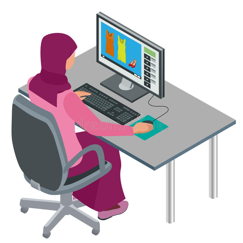 Arab woman, Muslim woman, asian woman working in office with computer. Attractive female Arabic corporate worker. Vector royalty free illustration