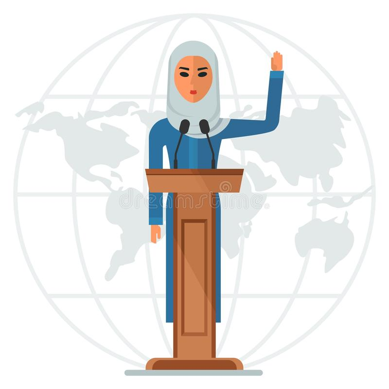 Arab woman on podium. Modern Arab woman stands on the podium at an international conference. Arabic people. Cartoon flat vector illustration. Objects isolated on stock illustration