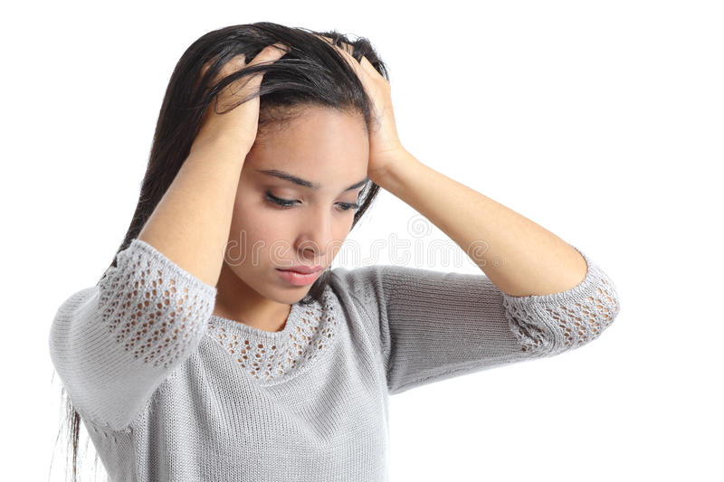 Arab woman worried with the hands in the head royalty free stock photos